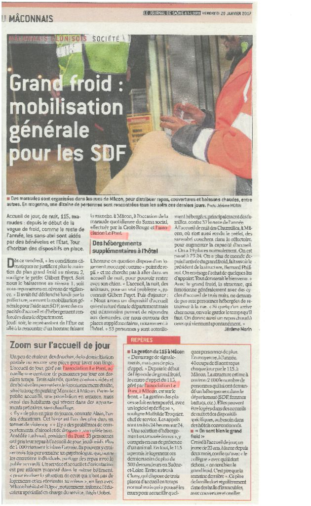 presse grand froid mobilisation g n rale pour les sdf association le pont. Black Bedroom Furniture Sets. Home Design Ideas
