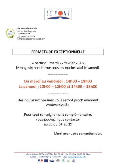 thumbnail of fermeture exceptionnelle