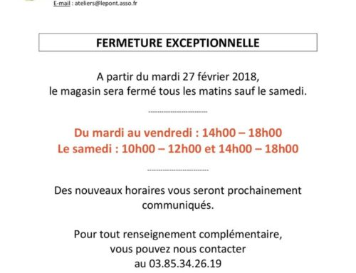 Magasin FRIP'PONT : Fermeture exceptionnelle