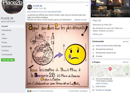 Un grand merci au restaurant «PLACE 2B» à Chalon-sur-Saône